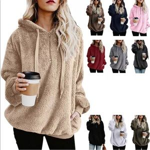 Tops - ⚡️Sale⚡️Hooded Faux Fur Pullovers with Pockets